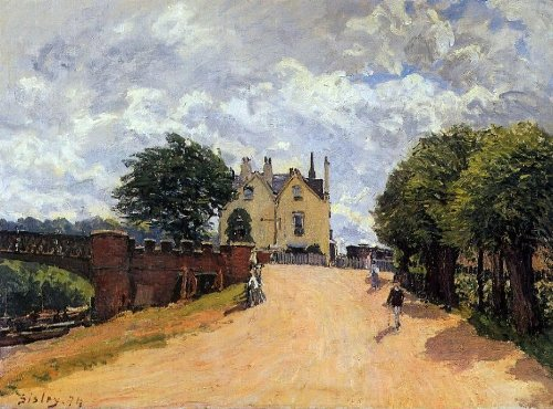 alfred-sisley-inn-at-east-molesey-with-hampton-court-bridge-21-x-28-premium-canvas-print