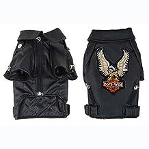 Small/Medium Dog Pet Luxury Leather Jacket Coats for Dog Autumn/Winter Eagle Chihuahua Dog Cat Puppy Clothes Costume (XS, Black)