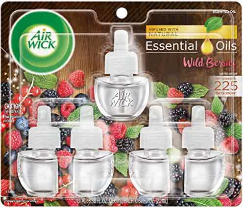 Air Wick plug in Scented Oil 5 Refills, Wild Berries, Fall scent, Fall spray, (5x0.67oz), Essential Oils, Air Freshener, Packaging May Vary