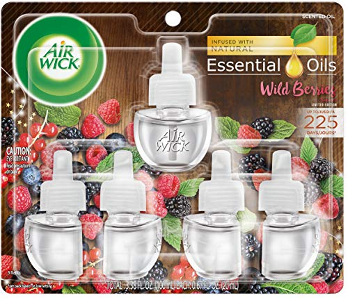 Air Wick plug in Scented Oil 5 Refills, Wild Berries, Holiday scent, Holiday spray, (5x0.67oz), Essential Oils, Air Freshener, Packaging May Vary (Air Wick Plug In)