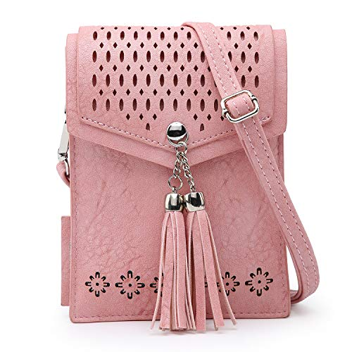 seOSTO Women Small Crossbody Bag, Tassel Cell Phone Purse Wallet With Credit Card Slots