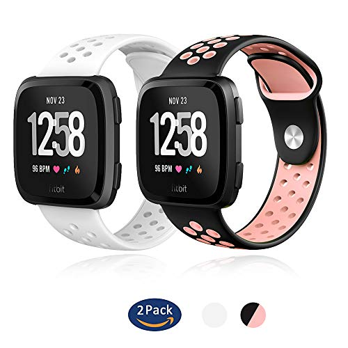 YiJYi Compatible for Fitbit Versa Bands Sport Silicone Replacement Breathable Strap for New Fitbit Versa Accessories Women Men (03-A-2 Pack)
