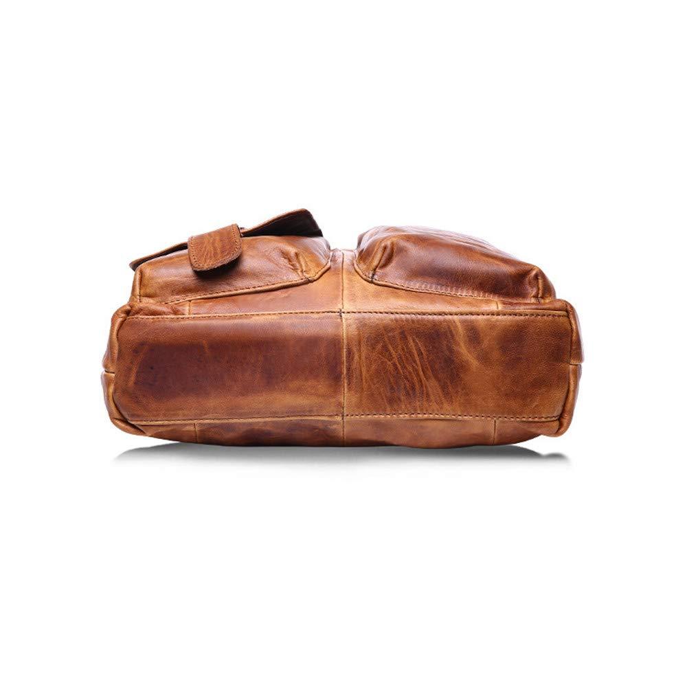 Ketteb Vintage Satchel Messenger Briefcase Horse Leather Hand Bag Zipper Button Closure Crossbody Bag Shoulder Bag for Men