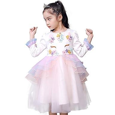 Toddler Baby Kids Girls Unicorn Costume Cosplay Party Fancy Dress up  Princess Ruffled Tulle Tutu Skirt 02b0c6ac6f82