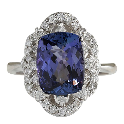 (4.75 Carat Natural Blue Tanzanite and Diamond (F-G Color, VS1-VS2 Clarity) 14K White Gold Cocktail Ring for Women Exclusively Handcrafted in USA)