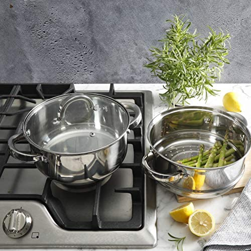 51NR QGDXVL. AC Oster Sangerfield Stainless Steel Cookware, 3.0-Quart Casserole Set w/Steamer Basket    3 qtr. Stainless Steel steamer for use on your stove top. Perfect for steaming vegetables and cooking rice at the same time as well as re-steaming tamales as leftovers. Smaller size than traditional stockpot steamers for smaller gatherings and space-saving. Dual purpose as Dutch oven with glass lid. 3QT Casserole 8.5' in diameter x 3.7' Height = Piece by itself, 3QT Steamer 8.5' in diameter x 3.6' Height = Piece by itself, With Glass lid 8.5' in diameter (you can use for both the pot and the steamer), Stackable measurements = 8.5' in diameter x 6.20' Height = Stackable Casserole and Steamer.