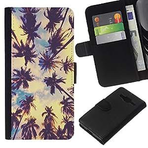 Planetar® Modelo colorido cuero carpeta tirón caso cubierta piel Holster Funda protección Samsung Galaxy Core Prime ( Los Angeles Sun Summer Sky Nature City )
