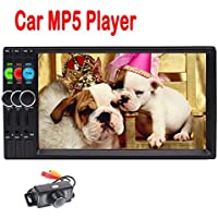 New Arrival HD 7 Inch Universal 2 DIN in Dash Bluetooth Car Stereo MP5 Player Support MP3/ MP4/ USB/TF/ FM Radio Entertainment Video Music Playing with Remote Control +Free Rear View Camera