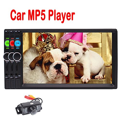 New Arrival HD 7 Inch Universal 2 DIN in Dash Bluetooth Car Stereo MP5 Player Support MP3/ MP4/ USB/TF/ FM Radio Entertainment Video Music Playing with Remote Control +Free Rear View Camera by EinCar