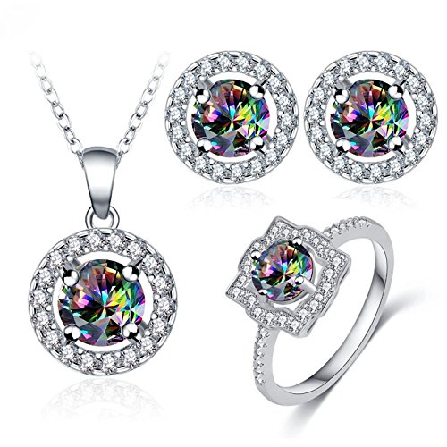 KnSam Women's Jewelry Set Ring Earrings Pendant Necklace 18K White Gold Plated Multicolored Zirconia Crystal Pendant for Women with Gift Box Size 8