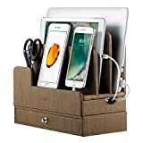 EasyAcc Double-Deck Multi-Device Charging Organization Station Docks Stand for RAVPower 6-Port USB Charger, Smart Phones/iPad/ Tablets for iPhone X/ 8/ Samsung Galaxy S9/ S8 Plus Pu Leather - Brown
