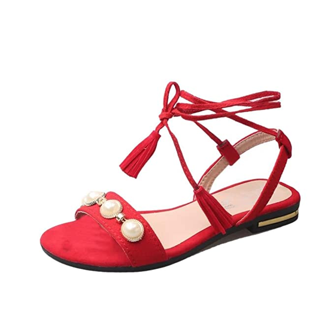 PLOT Damen Sandalen Sommer2018 Neu Einfarbig Bandagen Quaste Flach Schuhe Sandals Draussen Damen Schuhe Peep...