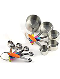 CheckOut ACA Kitchen 10 Pieces Stainless Steel Measuring Cups and Spoons Stackable Set deal