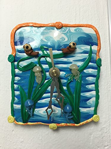 Time to relax for Otter and Jelly fish - Art Wall (Jelly Clock)