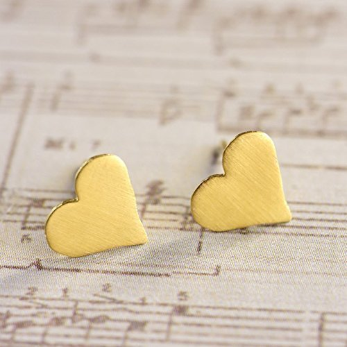 Heart Earrings, Tiny Studs, Dainty Handmade Designer Heart Shaped Pair of Post Earrings in Gold Plated Brass