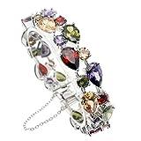 Women Bracelets Sterling Silver Gemstone Crystal Amethyst Garnet Morganite Size 21.5cm (Bracelets)