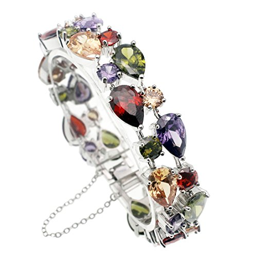 Women Bracelets Gemstone Crystal Peridot Amethyst Garnet Morganite Ladies Links Bracelet (Bracelet 8 Inch)