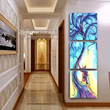 CGGHY 30 * 30 Cm Modern Living Room Entrance No Frame Painting Clock Vertical Hanging Corridor Triple Ice Crystal Glass Art Wall Clock Tulip 25Mm Thick Plate Skin Film Love Tree