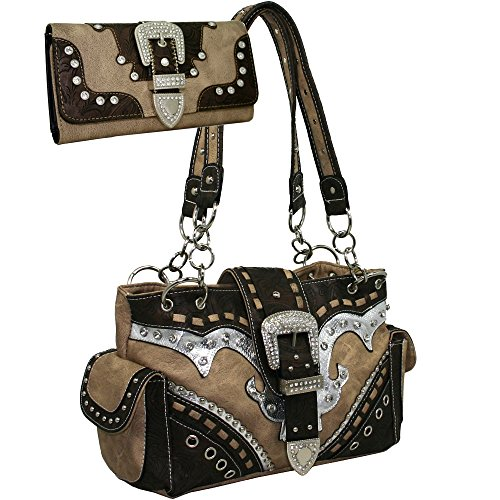 Buckle Purse - Western Rhinestone Buckle Accent Purse Handbag With Matching Wallet - Brown