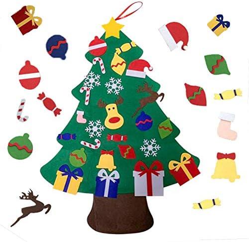 Viviyi – Albero di Natale in feltro, 26 decorazioni rimovibili fai da te, decorazione per la parete della porta per bambini, regalo di Capodanno (verde)