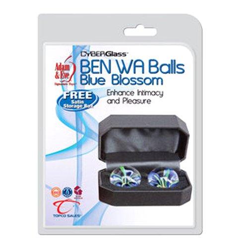 Adam & Eve Blue Blossoms Glass Ben Wa (Adam And Eve Adult)