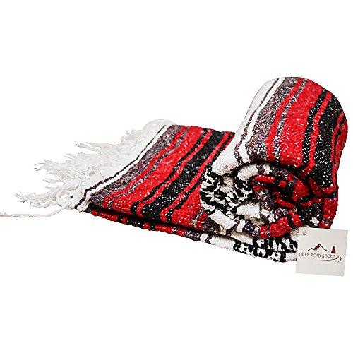 Red Mexican Blanket - Authentic Serape Falsa Blanket - Handmade