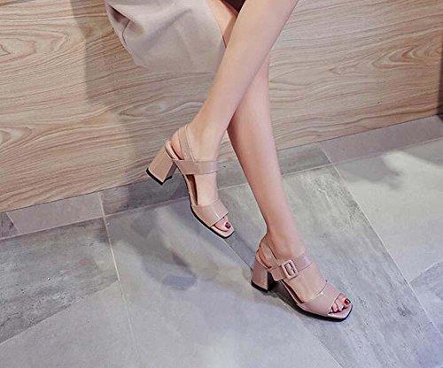 Onfly Señoras sandalias sencillo Peep toe fornido De tacón alto Correa de tobillo sandalias Lilac