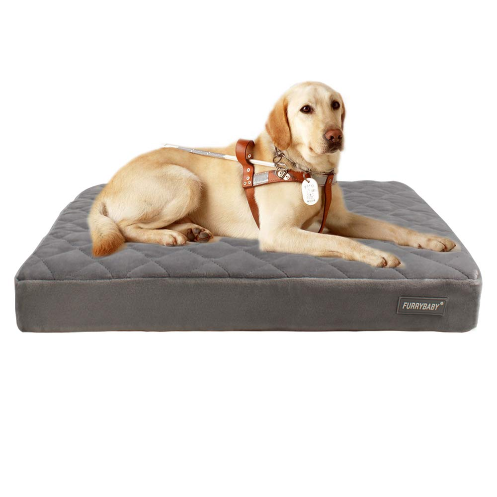 Furrybaby Premium Orthopedic Memory Form Dog Bed with Waterproof Internal Liner and Removable Microfiber Cover (42x28x3.2'')