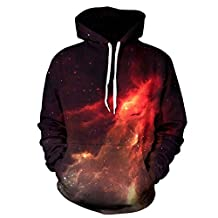Unisex Simulation Printing 3D flame Galaxy Print Sweater Pocket Hooded Sweatshirt