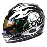 Motorcycle-Street-Bike-Black-Skull-White-Flame-Full-Face-Adult-Helmet