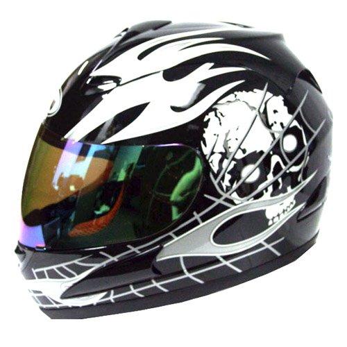 Motorcycle-Street-Bike-Black-Skull-White-Flame-Full-Face-Adult-Helmet
