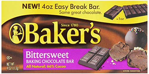 - Baker's Bittersweet Baking Chocolate Bar, 4 Ounce (Pack of 12)