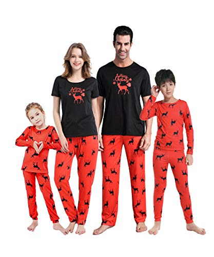 MyFav Matching Family Christmas Pajamas Set Soft Cotton Clothes Sleepwear (Personalized For Christmas Pajamas Family)