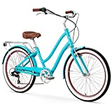 sixthreezero EVRYjourney Women's 7-Speed Step-Through Hybrid Cruiser Bicycle, 24' Wheels and 14' Frame, Teal with Brown Seat and Grips
