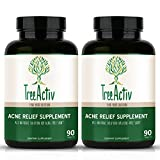 TreeActiv Acne Relief Supplement (2 Bottles / 180 Pills / 60 Day Supply) Natural Oral Herbal Clinically Proven Treatment System - Clear Face Medication - Skin Care for Men, Women, Adults, Teens