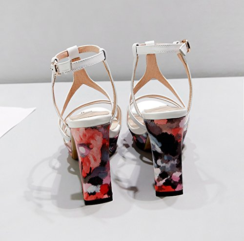 Donna Block Toe Vera In Cinturino Estate Alla Pelle Buckle Anlarach Heel Peep Sandali Bianco Casual Caviglia Primavera xTIdPwzYq