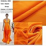 F.D.silk 100% Pure Silk Chiffon Fabric By the Yard, 48 Colors, Reddish Orange CH-05