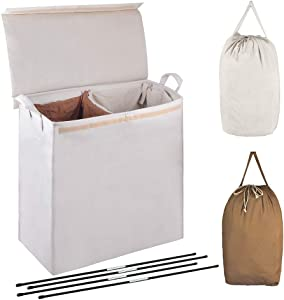 MCleanPin Double Laundry Hamper with Lid and Removable Liners,Foldable Bin,Divided Laundry Sorter with Laundry Bags, Clothes Hampers for Laundry Dorm Room.Beige