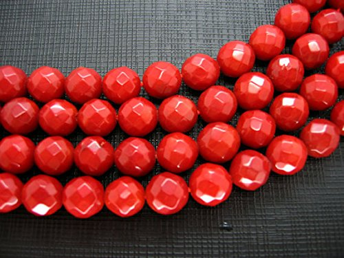 (Weekbeads 5strands 6mm Coral Beads,Bamboo Coral round ball faceted hot red ,pink red, oranger white mixed Loose)