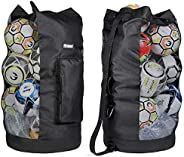 Fitdom Heavy Duty XL Soccer Mesh Equipment Ball Bag w/Adjustable Shoulder Strap Design for Coach. with an Over
