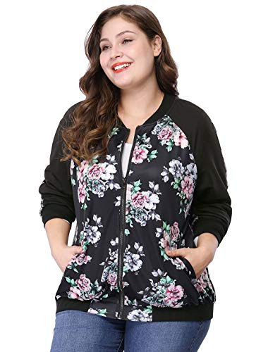 Agnes Orinda Women's Plus Size Zipper Raglan Sleeves Floral Bomber Jacket 1X Black ()