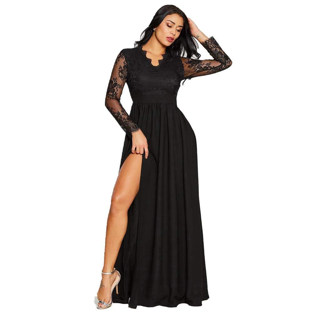 c8444d984 Amazon.com: Vcegari Women's Prom Maxi Dresses with Side Split V-Neck Floral  Lace Evening Gown Party Dress: Clothing