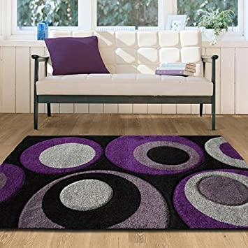 The Rug House Havana 915 Grey And Aubergine Bubbles Pattern Living Room  Mats 180 Cm X