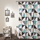 "Lush Decor Abner Geo Shower Curtain, 72"" x 72"", Turquoise"