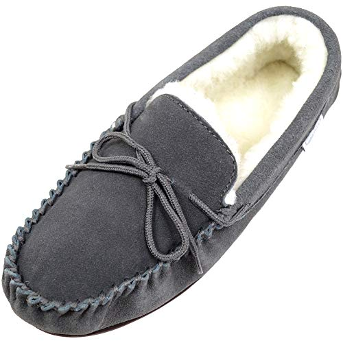Suede Gris Wool Moccasin Lined With Homme Rubber Sole Snugrugs Chaussons wfEgFZqwz