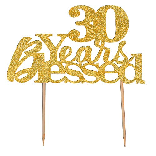 30 Years Blessed Cake Topper - Happy 30th Birthday - Wedding Anniversary Party Decoration Supplies (Gold -