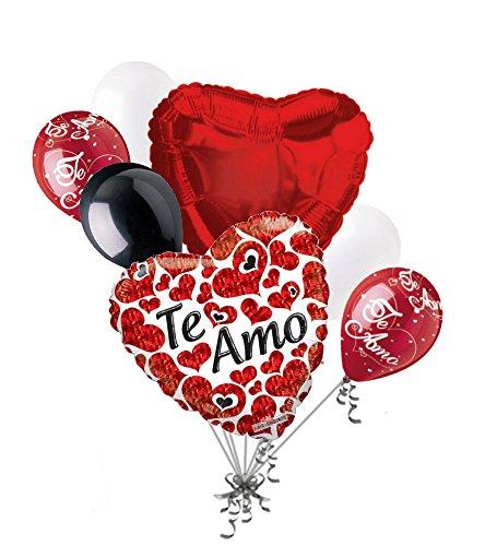 - Jeckaroonie Balloons 7 pc Te Amo Happy Valentines Day Balloon Bouquet Mine Hug Kiss Love You Quiero