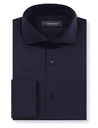 73c99ea3b YEABARRON Custom Mens Navy Blue Solid Slim Fit Long Sleeve Stretch Wrinkle  Free Embroidered Dress Shirts