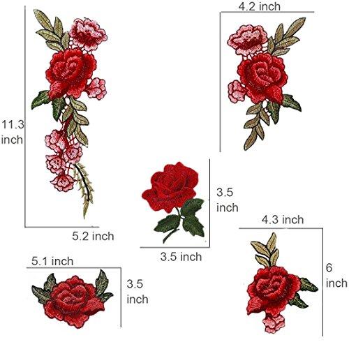 Comfun 12 Pack 빨간 장미 꽃 패치 배지 수 놓은 꽃 꽃 장식 패치..