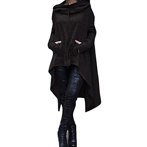 Mujere Abrigo Tamaño Plus - Capucha Otoño Abrigo Manga Larga Chaqueta Casuale Hoodie Asymmetrical Negro Verde Gris Azul Rojo Gris Oscuro XS-3XL Yuxin